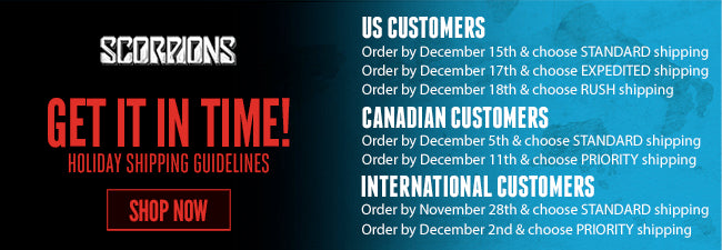 Shipping Deadlines for Scorpions Store