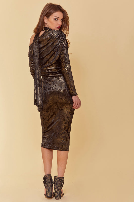 Crushed velvet bodycon mini dress with long sleeves, mock neck with tie, exposed shoulder cutout and all over gold foiled accents in black.