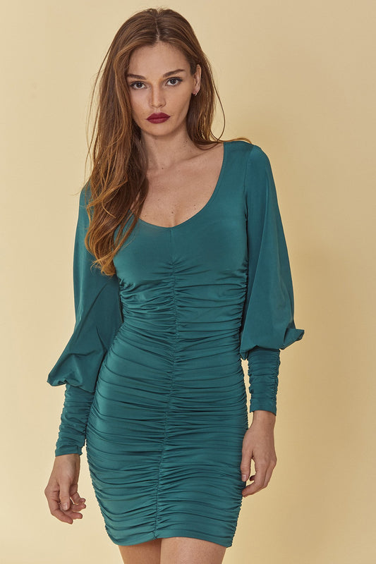 Slinky jersey fitted mini dress with long, oversized Victorian sleeves, V-neck and all over ruching with in dark, Storm Green.