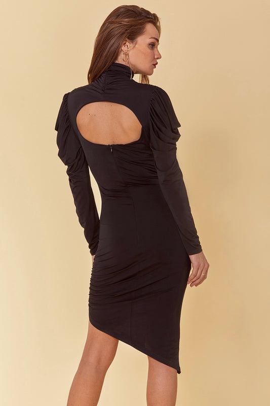 Jersey statement bodycon dress with midi fit, ruched mock neck, long draped sleeves and open back cutout in black.