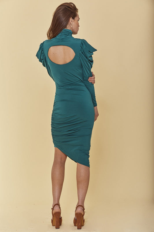 Jersey statement bodycon dress with midi fit, ruched mock neck, long draped sleeves and open back cutout in dark, Storm Green.