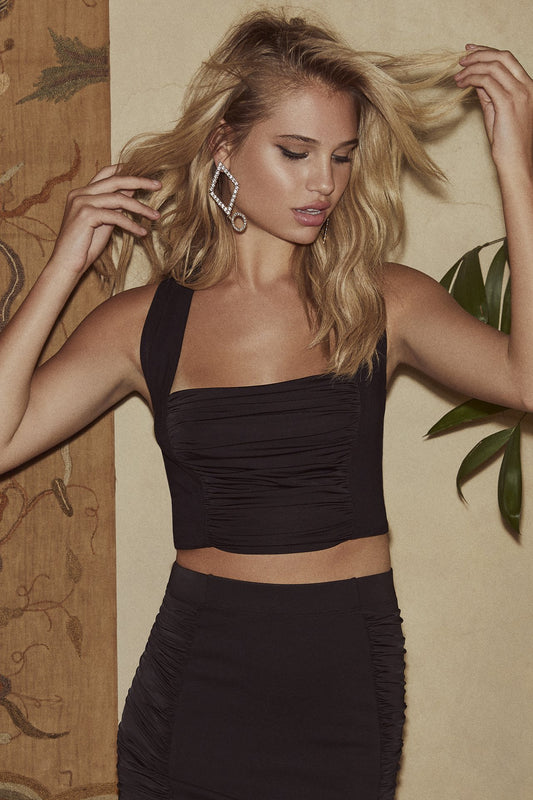 Jersey sleeveless statement top with front ruching from bodice to hem and wide straps with cross back in black.