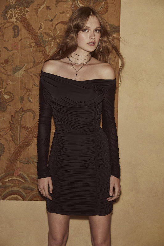 Jersey long-sleeved bodycon midi dress with scoop neck and front ruching from bodice to hem in black.