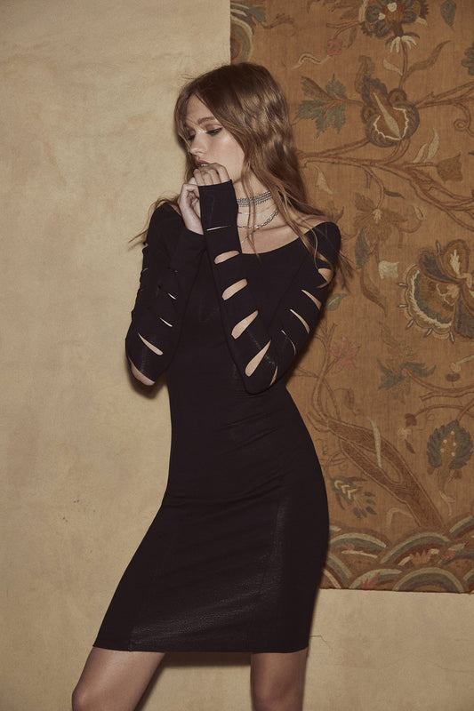 A spandex bodycon midi dress that features long sleeves with cutout slits and a boatneck in black.