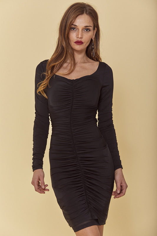 Ruched jersey midi dress with bodycon fit, boatneck, long sleeves and all over shirring from bodice to back in black.