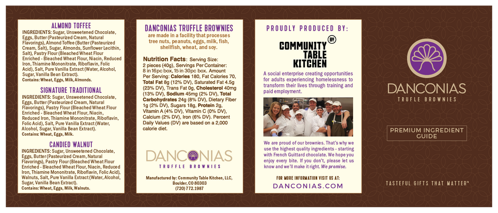 Danconias Truffle Brownies Ingredient Guide