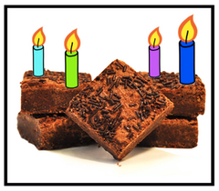 happy birthday candles truffle brownie