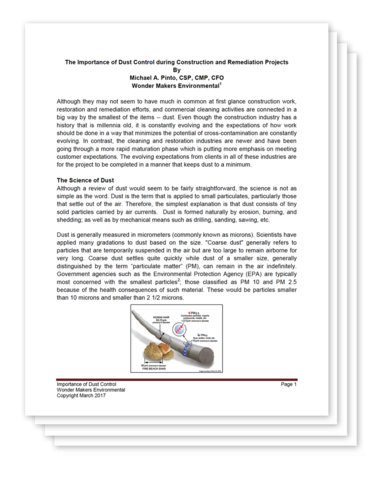 Bad Axe Restoration Products releases white paper on Particulate Control in Mold Remediation