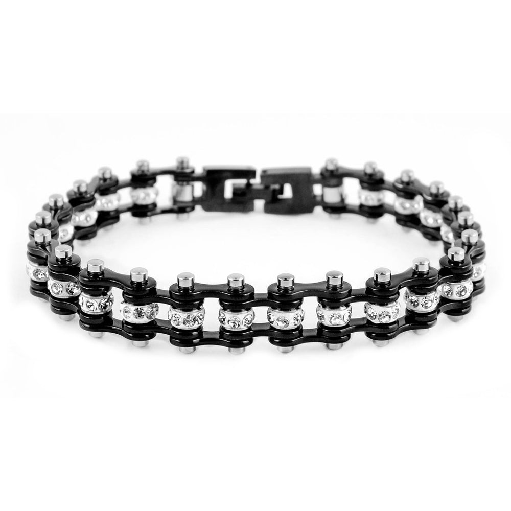 "SK2017 3/8"" Wide MINI MINI SIZE All Black With White Crystal Centers Stainless Steel Motorcycle Bike Chain Bracelet"