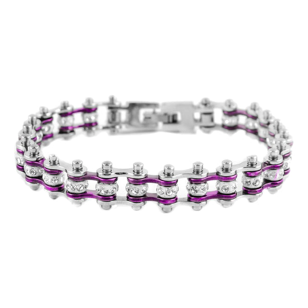 "SK2003 3/8"" Wide MINI MINI SIZE Two Tone Silver Candy Purple With White Crystal Centers Stainless Steel Motorcycle Bike Chain Bracelet"