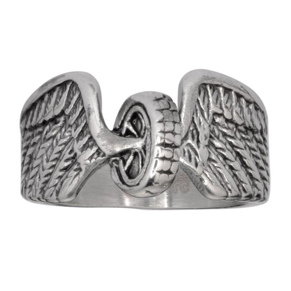 SK1042  Ladies Keep Us Safe Ring Wheel With Wings Stainless Steel Motorcycle Jewelry  Size 5-10
