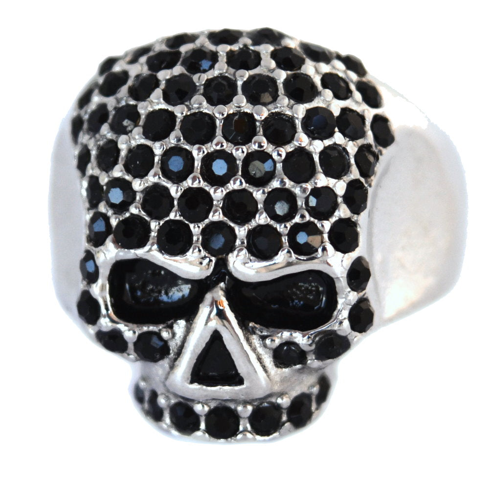 SK1075B Ladies Bling Skull Imitation Black Diamond Ring Stainless Steel Motorcycle Jewelry Size 6-10