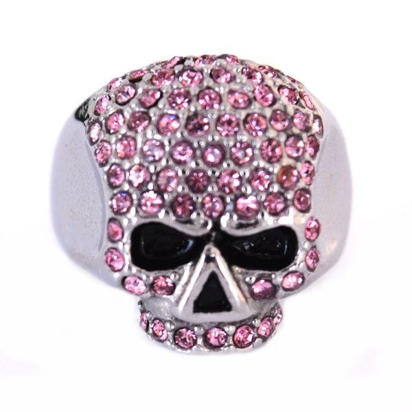 SK1075P Ladies Bling Skull Imitation Pink Diamond Ring Stainless Steel Motorcycle Jewelry Size 6-10