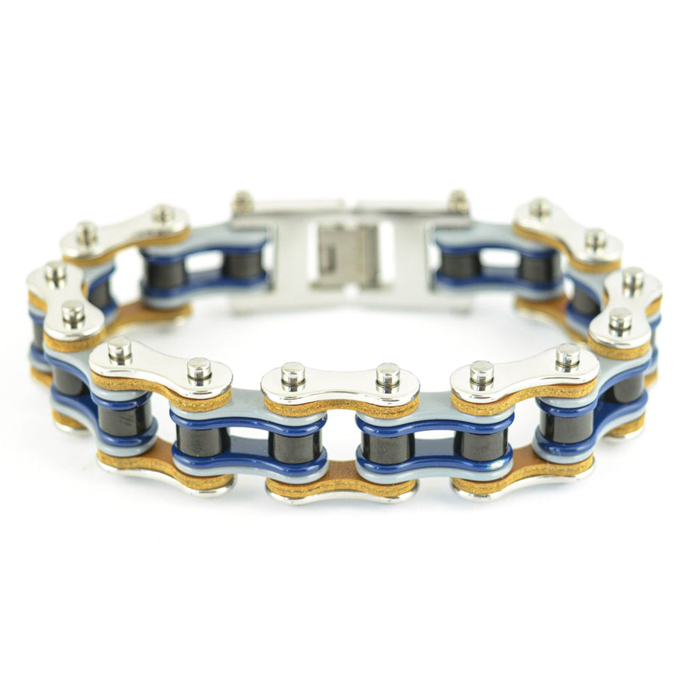 "SK1327 Quad Color Silver Grey Blue Black Leather 3/4"" Wide Double Link Design Men's Stainless Steel Motorcycle Chain Bracelet"