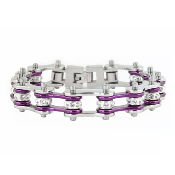 "SK1103 1/2"" Wide Two Tone Silver Candy Purple With White Crystal Centers Stainless Steel Motorcycle Bike Chain Bracelet"