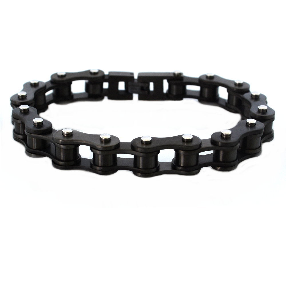 "SK1123G Gunmetal 1/2"" Wide Bike Chain Bracelet"