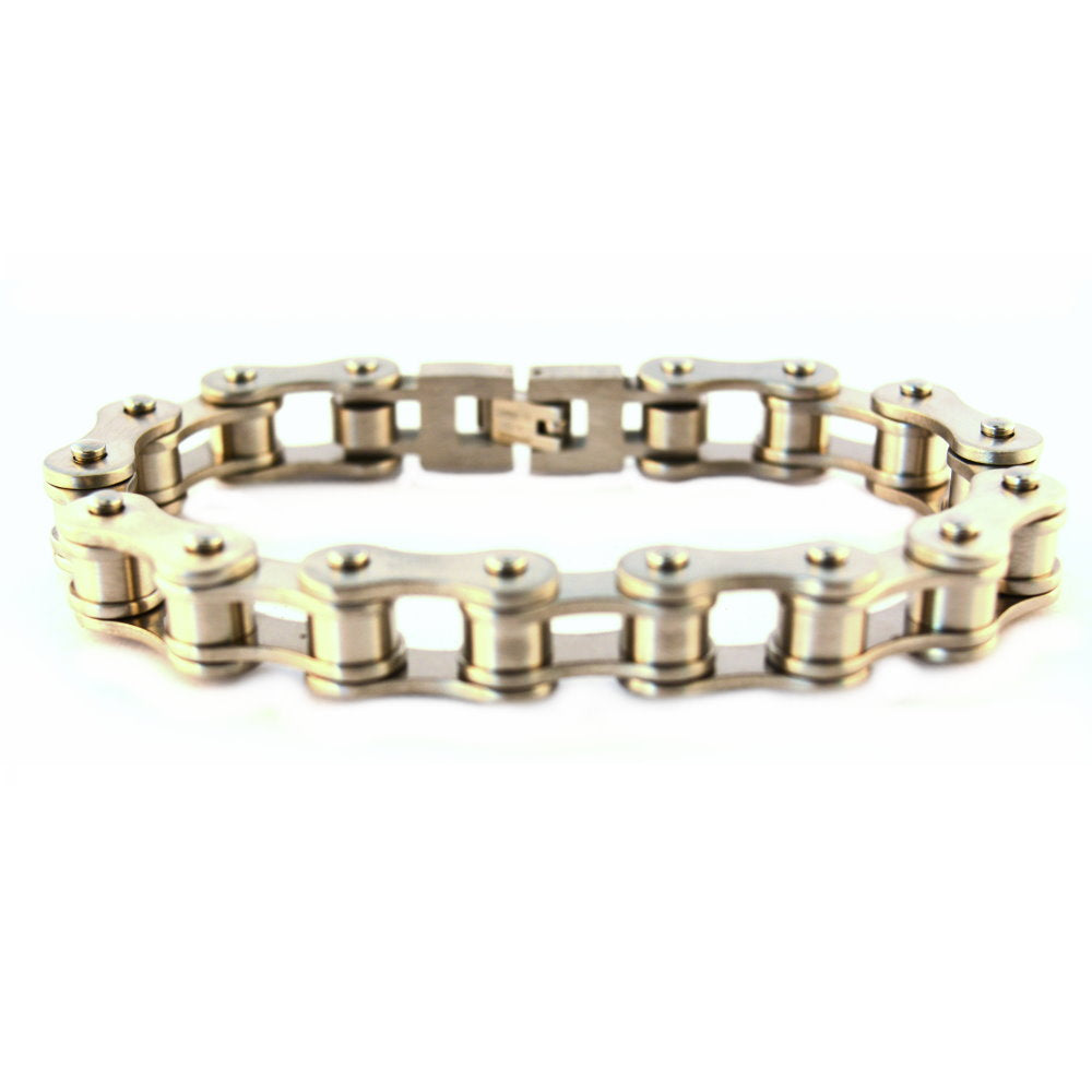 "SK1123B 1/2"" Wide All Stainless Steel BRUSHED Unisex Stainless Steel Motorcycle Chain Bracelet"