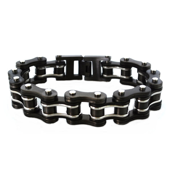 "SK1125G Gunmetal Silver 3/4"" Wide Double Link Design Unisex Stainless Steel Motorcycle Chain Bracelet"