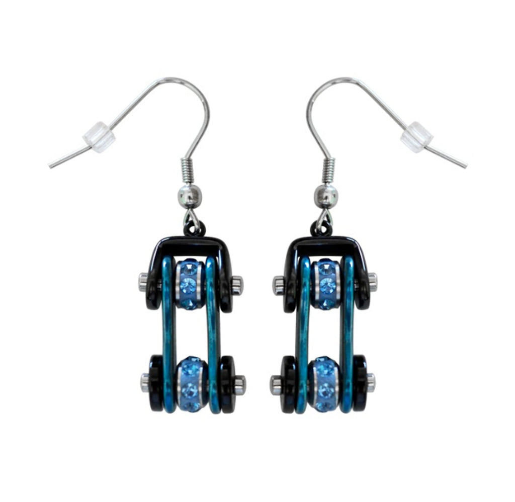 SK1202E Two Tone Black Blue With Blue Crystal Centers Bike Chain Earrings Stainless Steel Motorcycle Biker Jewelry