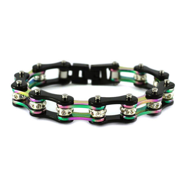 "SK1208  1/2"" Wide Original SIZE Black Rainbow Ladies Crystal Bike Chain Bracelet Stainless Steel Motorcycle Jewelry"