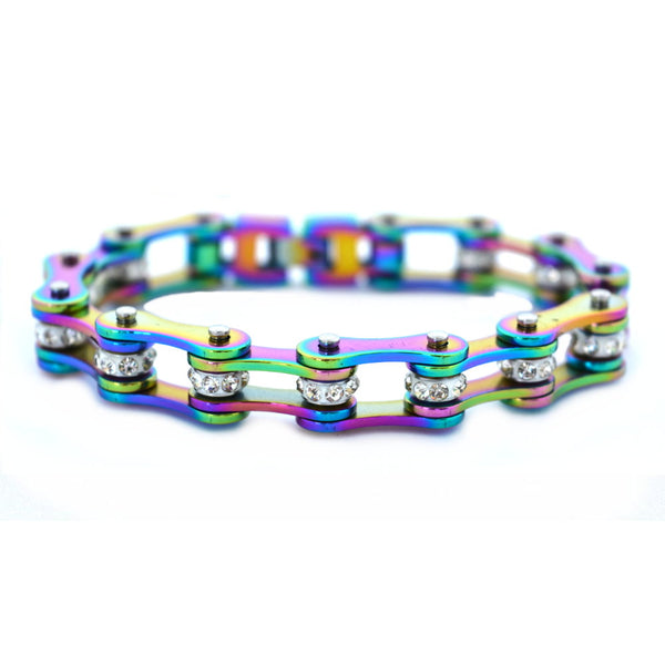 "SK1209 1/2"" Wide All Rainbow With White Crystal Centers Stainless Steel Motorcycle Bike Chain Bracelet"
