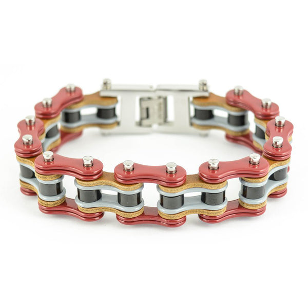 "SK1339 Tri Color Red Grey Black Leather 3/4"" Wide Double Link Design Men's Stainless Steel Motorcycle Chain Bracelet"
