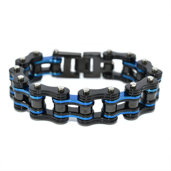 "SK1285 Black Blue 3/4"" Wide Double Link Design Unisex Stainless Steel Motorcycle Chain Bracelet"