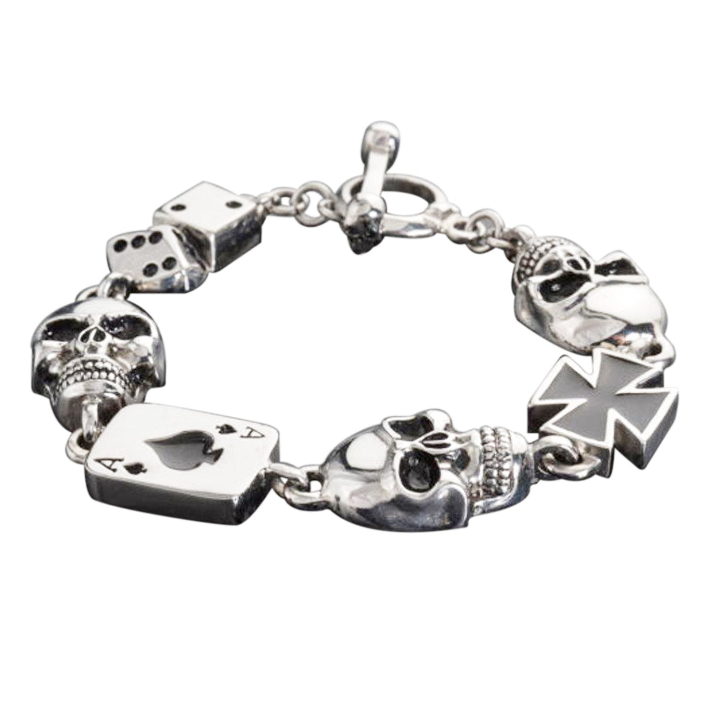 "SK1364 Men's ""Poker Run"" Skull Bracelet Stainless Steel Heavy Metal Jewelry"