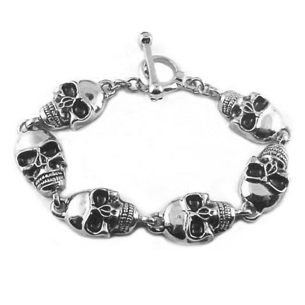 "SK1366 Men's Skull Bracelet Stainless Steel 9"" Heavy Metal Jewelry"