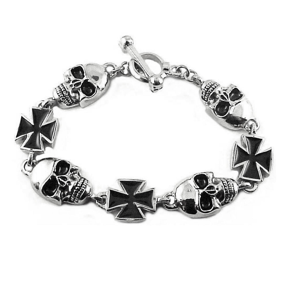 SK1370 Men's Skull Maltese Cross Bracelet Stainless Steel Heavy Metal jewelry