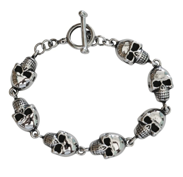 "SK1374 Ladies Skull Bracelet Stainless Steel 8"" Heavy Metal Jewelry"