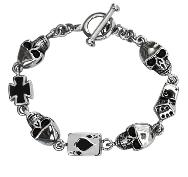 "SK1376 Ladies Poker Run Bracelet Stainless Steel 8"" Heavy Metal Jewelry"