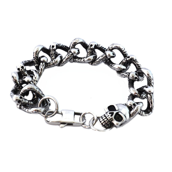 SK1383 Skull Link Bracelet Stainless Steel Heavy Metal Jewelry