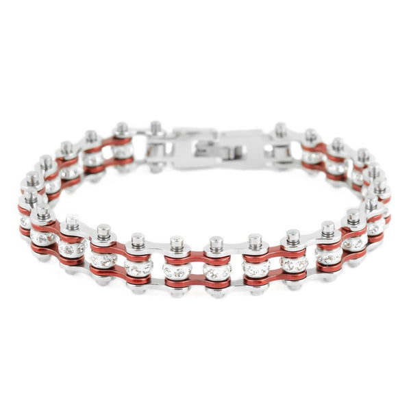 "SK2014 3/8"" Wide MINI MINI SIZE Two Tone Silver Candy Red With White Crystal Rollers Stainless Steel Motorcycle Bike Chain Bracelet"
