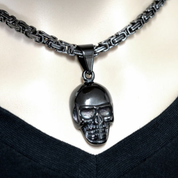 "SK1420G Gunmetal Skull 2 1/4"" Tall With 26"" Byzantine Link Chain Stainless Steel Motorcycle Jewelry"