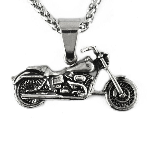 "SK1421 Motorcycle Biker Pendant 1.5"" Wide Stainless Steel With 26"" Chain"