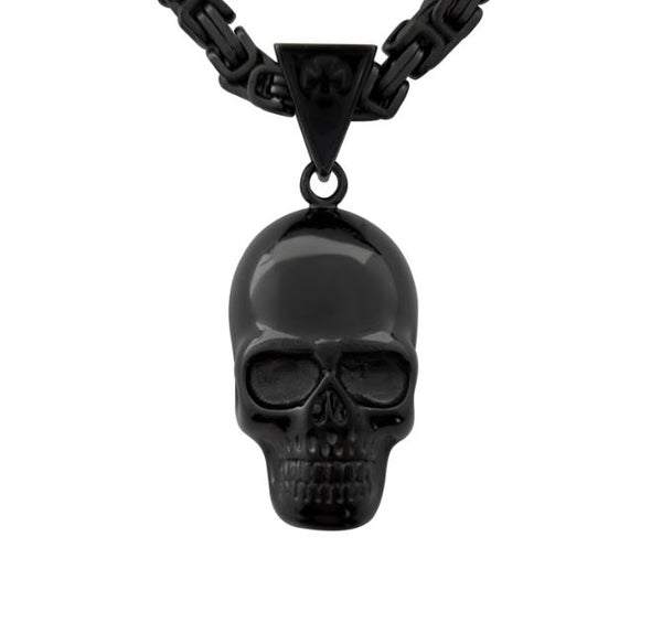 "SK1422G Skull 3"" Tall 26"" With Byzantine Link Chain Stainless Steel Motorcycle Jewelry"