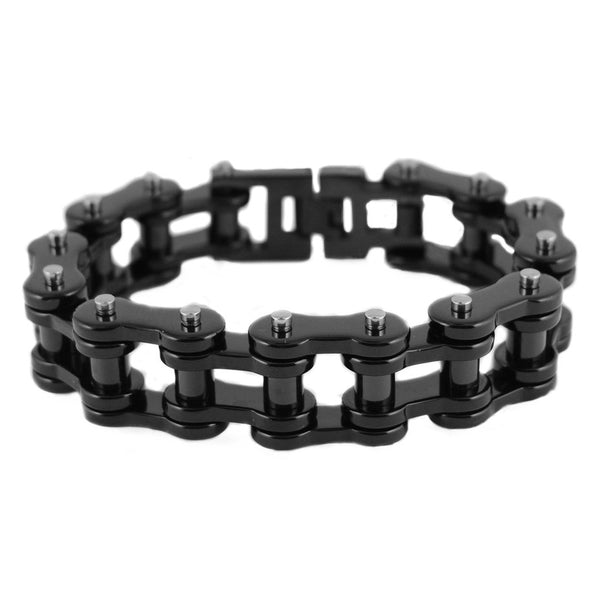 "SK1850 All Black Powder Coat 3/4"" Wide Thick Link Unisex Stainless Steel Motorcycle Chain Bracelet"