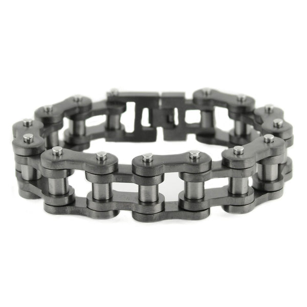 "SK1840 All New GUNMETAL FINISH 3/4"" Wide Thick Link Unisex Stainless Steel Motorcycle Chain Bracelet"