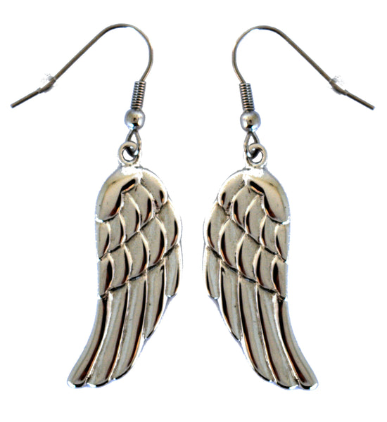 SK1483 Large Angel Wing Earrings French Wire Stainless Steel Motorcycle Biker Jewelry