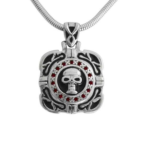 "SK1532 Skull Crystal Bling Pendant 16.5"" Necklace Wide Stainless Steel Motorcycle Jewelry"