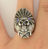 SK1071  Indian Headdress Blue Stones In Eyes Stainless Steel Motorcycle Jewelry  Size 9-15