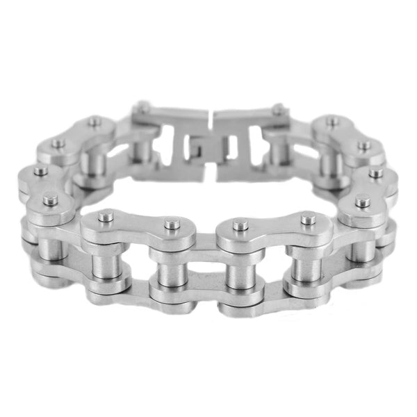 "SK1849 BRUSHED FINISH 3/4"" Wide THICK LINK Men's Stainless Steel Motorcycle Chain Bracelet"