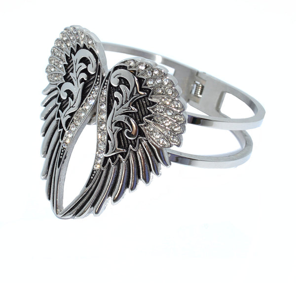 "SK2551A Wings Heart Bangle 7.75"" Imitation Diamonds Stainless Steel Heavy Metal Jewelry"