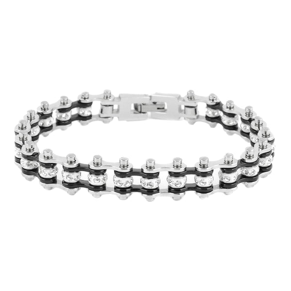 "SK2016 3/8"" Wide MINI MINI SIZE Two Tone Silver Black With White Crystal Centers Stainless Steel Motorcycle Bike Chain Bracelet"