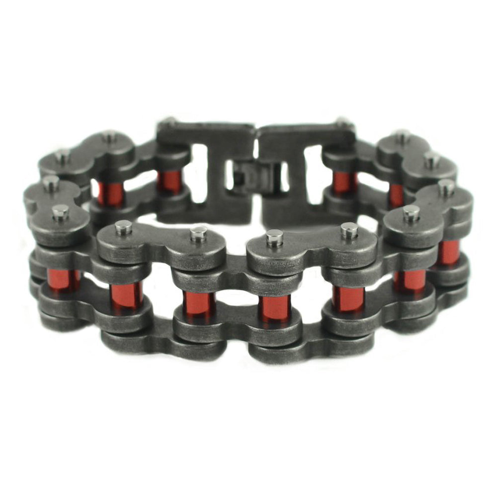 "SK1817 Distressed Antique Finish 1"" Wide With Candy Red Rollers THICK LINK Stainless Steel Motorcycle Chain Bracelet"