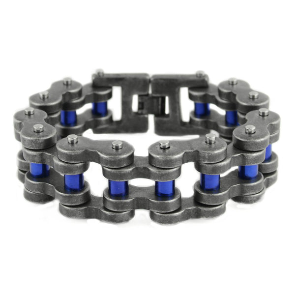 "SK1839 Distressed Antique Finish 1"" Wide With Candy Blue Rollers THICK LINK Men's Stainless Steel Motorcycle Chain Bracelet"