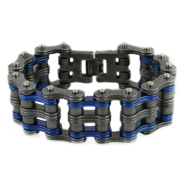"SK1823 1"" Wide Two Tone Distressed Finish Candy Blue Links Unisex Stainless Steel Motorcycle Chain Bracelet"