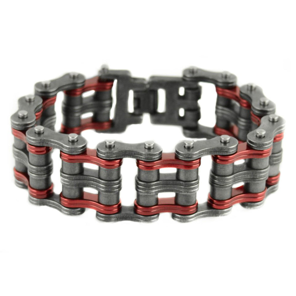 "SK1829 Two Tone 1"" Wide Distressed Finish Candy Red Unisex Stainless Steel Motorcycle Chain Bracelet"