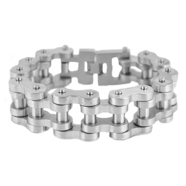"SK1848 1"" Wide All Stainless BRUSHED Finish THICK LINK Men's Stainless Steel Motorcycle Chain Bracelet"
